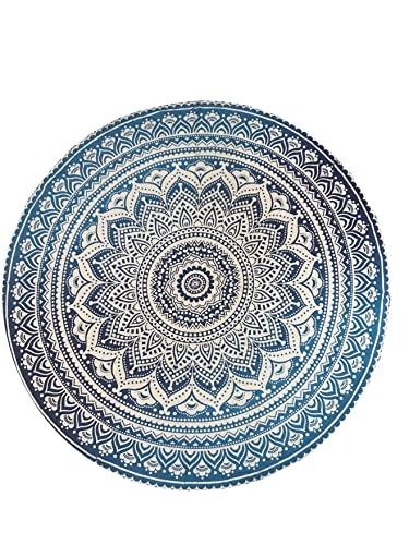 raajsee Indien Strandtuch Rund Mandala Hippie/Groß Indisch Rundes Baumwolle/Boho Runder Yoga Matte Tuch Meditation/Tischdecke Rund aufhänger Decke Picknick handgefertigt Teppich 70 inch (Blau Ombre)