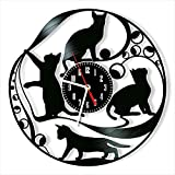 Reloj de pared de vinilo con diseño de gatos para decoración...