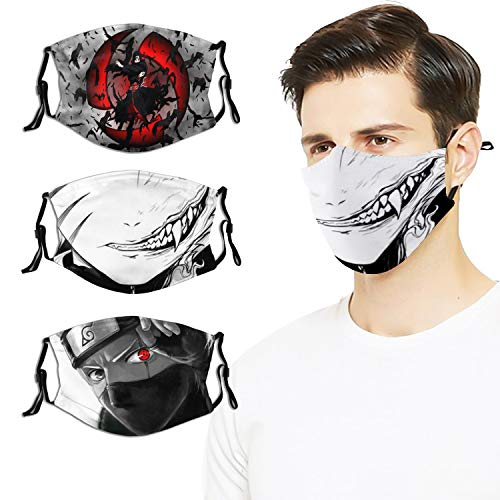 3pcs Anime Naruto Face Cover Mask with 6 Filter Reusable Adjustable Elastic Strap for Adult Men Woman
