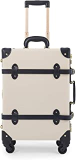 "COTRUNKAGE 20"" Genuine Leather Carry On Suitcase Aluminum Frame Vintage Luggage Trunk (20"", White)"