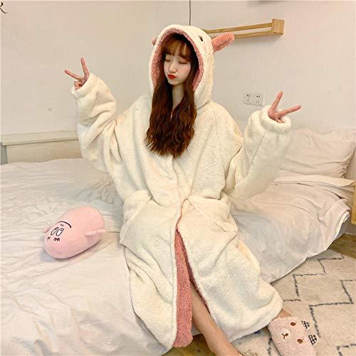 Ladies Comfy Pijamas Mujeres Soft,Puede Usar Pijama de Lana Coral, camisón Largo y camisón con Capucha, Color Blanco cremoso,Manga Larga Franela Conjunto