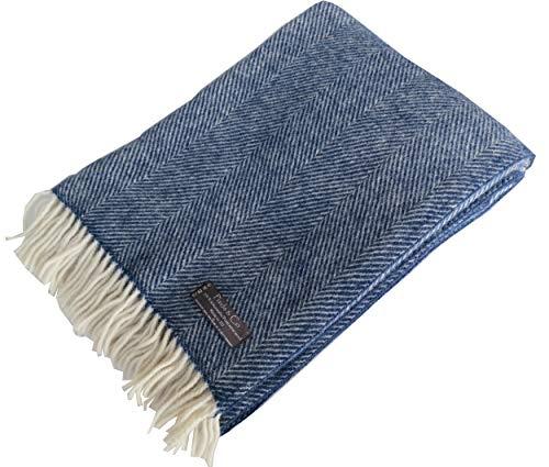 Lange Fischgrat Wolldecke aus 100% neuseeländischer Schurwolle Ökotex 100 (130 x 220 cm, Navy-Creme) Decke Wolle, Sofadecke, Tagesdecke, Kuscheldecke Plaid dunkel-blau