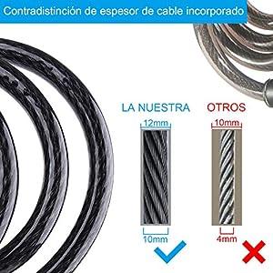 Candado Bicicleta, [Versión Actualizada] Diyife Impermeable Candado de Cable, Exterior Cadena Bici Combinacion 4 Dígitos,150cm/12mm Largo Resistente Candados Antirrobo Bicicletas para MTB, Bici