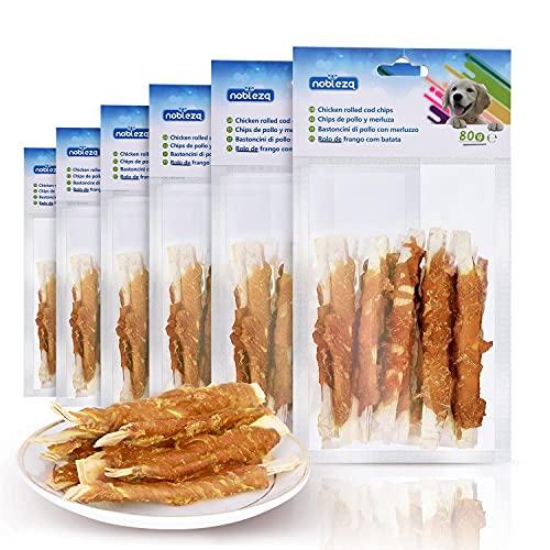 Nobleza - Snacks para Perros - Chips de Bacalao Enrollados con Pollo - Chuches Natural para Perros - Golosinas para Perro - Premios y Recompensas para Perros - L10 cm, 6 Bolsas x 80 gr