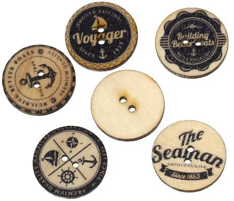 Handarbeit-Lieblingsladen Holzknöpfe zum aufnähen - 50 Stück - 2,5 cm - Maritimes Muster - Naturell, schwarz - zufälliger Mix
