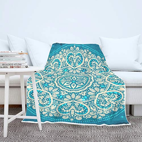 O2ECH-8 Vleermuisdeken, koningsblauw, mandala-patroon, bedrukt fleece, twee maten, robe capuchon, geometrie warm, geschikt als cadeautje