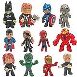 Adornos para Tartas Nesloonp 12 Piezas Mini Juego de Figuras Decoración de Pastel de Superhéroes Cake Topper Superhero Decoración de Pastel de Cumpleaños de Avengers para Torta del Fiesta Suministros