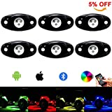 RGB Led Rock Light Kit 6pods Led Rock Lights Bluetooth 14 DIY Color 15 Turning Modes Timing Music Flashing Led Interior Wheel Neon Lights for Off Road Jeep Truck SUV UTV ATV Motorcycle (6 pods)