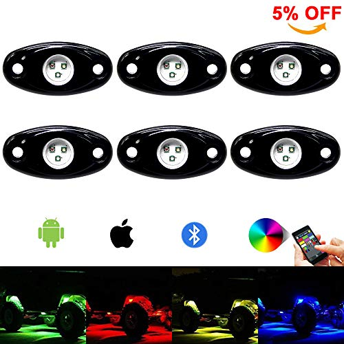 RGB Led Rock Light Kit 6pods Led Rock Lights Bluetooth 14 DIY Color 15 Turning Modes Timing Music...