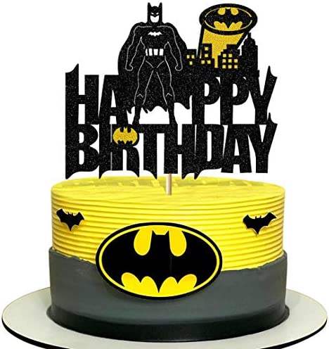 Vivicraft Cake Decor for Batman Happy Birthday Cake Topper Glitter Happy Birthday Cake Topper product image