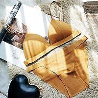 セクシーなブラ, 細いストラップショルダーギャザリングトライアングルカップ、スチールリングブラセットなし-Yellow_70C75AB,花の刺繡ブラ