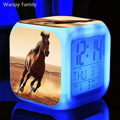 Zhuhuhumin paard-wekker kleurverandering LED-grootbeeld weergave tijd datum thermometer touch gevoelige multifunctionele digitale klok