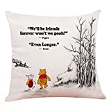 """phjyjyeu Funny Classic Winnie The Pooh Quotes Pillow Covers - Pooh Pillow Case Cushion Cover For Sofa Couch Living Room?Home Decor 18""""x 18""""Inch 18' X 18'(IN)"""