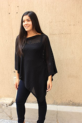 Airy Poncho, Women's Mesh Poncho, Summer Wrap, Black