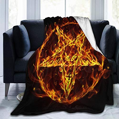 Delerain Satanic Fire Pentagramm Flanell-Fleece-Überwurf, Decke, 127 x 152,4 cm, für Wohnzimmer/Schlafzimmer/Sofa, Couch, warm, weich, Bettdecke, für Kinder und Erwachsene, alle Jahreszeiten