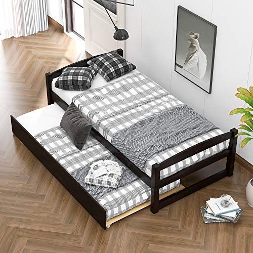 COZEON Twin Daybed with Pull Out Trundle, Wood Twin Size Kids Bed Frame for Bedroom, No Box Spring Needed
