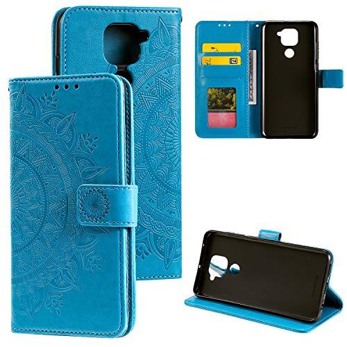 HTDELEC Handyhülle für Xiaomi Redmi Note 9,Ultra Slim Flip Hülle Blau Etui mit Kartensteckplatz & Magnetverschluss Leder Wallet Klapphülle Book Hülle Bumper Tasche für Xiaomi Redmi Note 9(T-Blau)