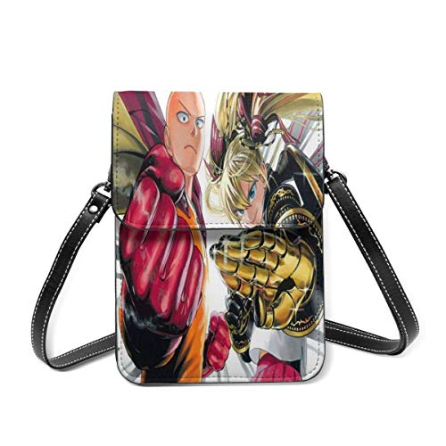 XCNGG Telefontasche Crossbody Cell Phone Purse, One Punch Man Small Crossbody Bags - Women PU Leather Multicolor Handbag with Adjustable Strap