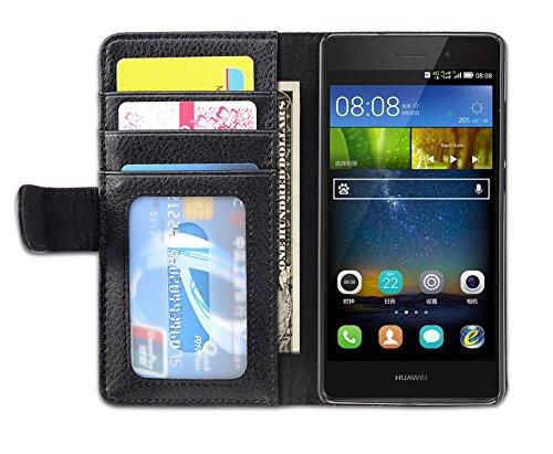 Cadorabo Funda Libro para Huawei P8 Lite 2015 en Negro ÓXIDO - Cubierta Proteccíon con Cierre Magnético e 3 Tarjeteros - Etui Case Cover Carcasa