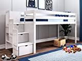 JACKPOT! JP-ST White Contemporary Low Twin Stairway, Loft Bed