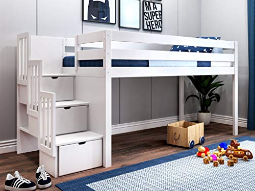 JACKPOT! JP-ST White Contemporary Loft Bed