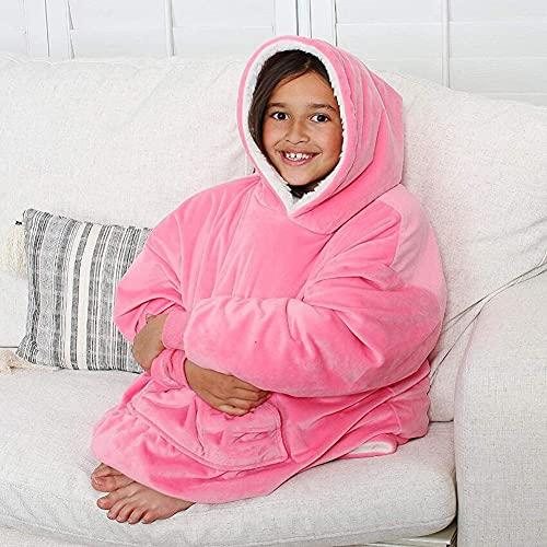 SETSCZY Polar Mujer Hombre Sofa,Manta con Mangas y Bolsillo para Pies de TV,Blanket Hoodie Suave y Acogedor,para Adulto, Oversized, Talla única, Unisex, para Hombre y Mujer,Rosado