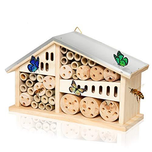 Vumdua Mason Bee House Hotel, Natural Wooden Bee Hive Pollinator Garden House Tube Nest for Mason...