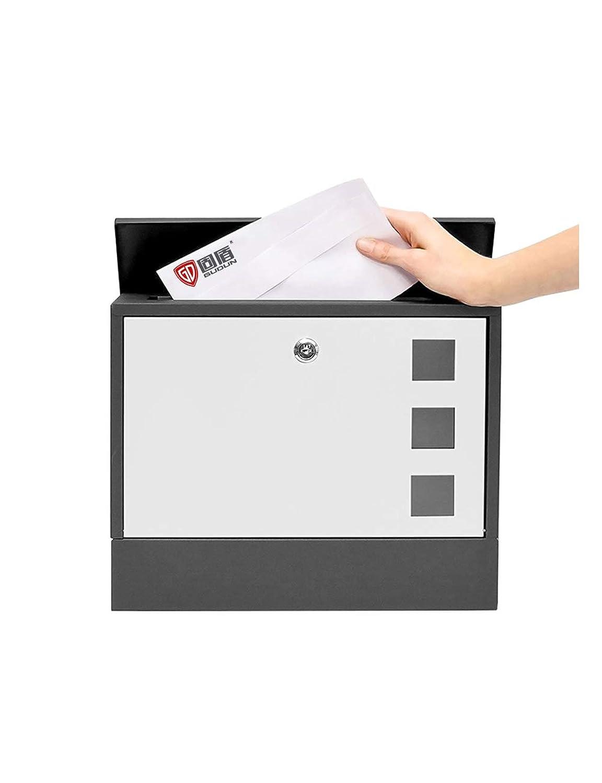 JIAJIA ウォールマウントされたメールボックスヴィラレターボックスロック付き屋外の壁錬鉄製の防錆の提案ボックス メールボックス