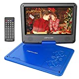 DBPOWER 11.5' Portable DVD Player with 9.5' Swivel Screen, 5-Hour Built-in Rechargeable Battery, Support CD/DVD/SD Card/USB, with Car Charger and Power Adaptor, Blue
