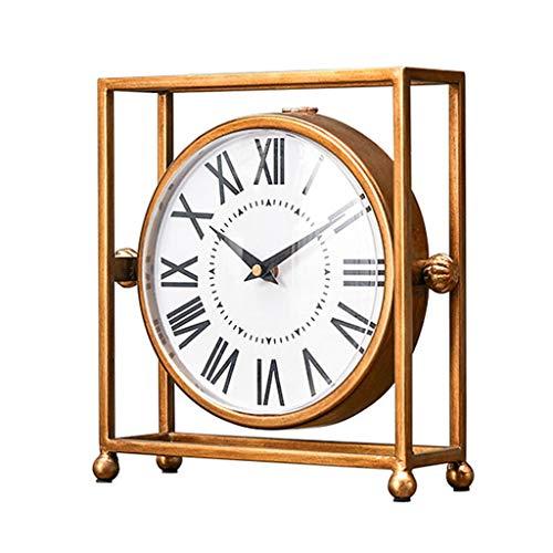 SHUTING2020 Reloj de Mesa Pequeño Mini Reloj Mute Reloj Dormitorio Americano Sala de Estar Encimera Reloj Hogar Creativo Mesa de Centro Decoración Reloj de decoración de interiors