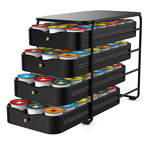 Everie 4-Tier Coffee Pod Storage Holder Organizer Drawer Compatible with 72 K Cup Pods (Black)
