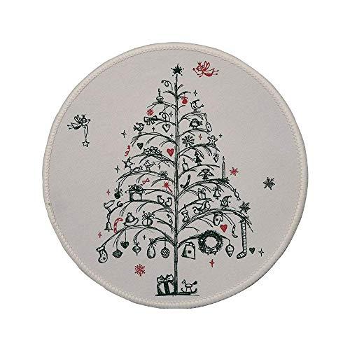 Rutschfeste runde Mauspads aus Gummi Weihnachtsdekorationen Feen mit Zauberstäben und handgezeichnetem Baumstil mit Kranz und Strümpfen Rotgrün 7.9
