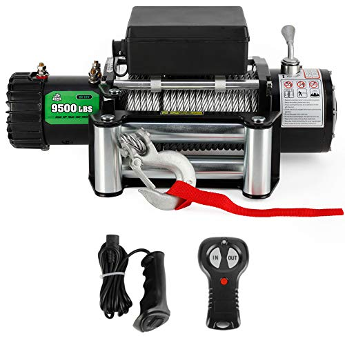 9500 lb. Load Capacity Powersports Winch for Jeep, OFF ROAD BOAR 12V IP67 Waterproof Electric Winch with Steel Wire Rope, Wireless Handheld Remote and Wired Handle