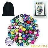 Bescon 120pcs Treasure Set, Randomly Mixed RPG Dice Pack of 120; Polyhedral Dice Mix of Rainbow Glitter,Gem,Swirly, Stone Styles