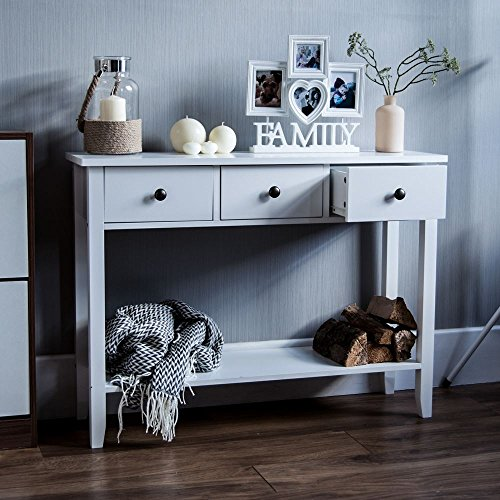Vida Designs Windsor 3 Drawer Console Table With Shelf, White Wooden Hallway Living Room Bedroom Dressing Dresser Desk Furniture