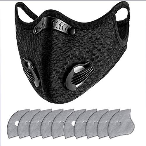 MAZI Visera Protectora con un Filtro + 10pcs Almohadilla sustitución del Carbono, Anti-Spray Anti-contaminación Anti-Polvo, para los Deportes al Aire Libre, Ciclismo y Carrera