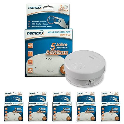 5X Nemaxx Mini-FL2 Rauchmelder - hochwertiger & diskreter Mini Brandmelder Feuermelder Rauchwarnmelder mit Lithium Batterie - nach DIN EN 14604