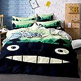 Earendel Bettwäsche Totoro Bettbezüge Set Anime Zeichentrickfigur Bett Sets 2/3/4Teilig Bettbezüge/Kissenbezüge/Bettlaken Für Kinder,Jungen,Mädchen (9,Single-140×210cm(4PCS))
