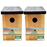 2 x Handy Home and Garden Nichoir en Bois Traité à la Pression Boîte de Nidification Maison d'Oiseau Sauvage - Fabriqué avec 100% de Bois FSC, des Forêts Durables Respectueuses de l'environnement