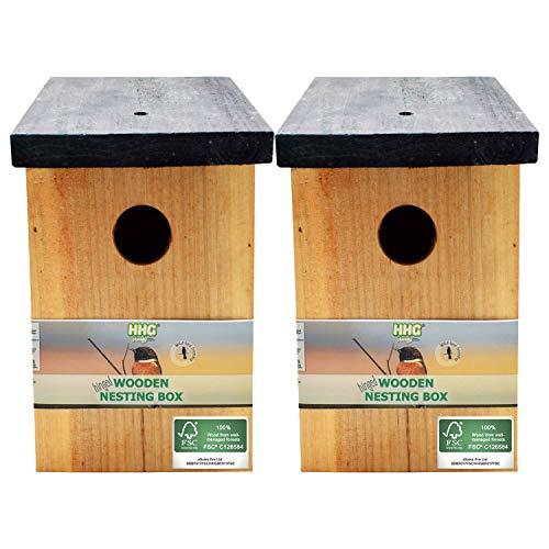 2 x Handy Home and Garden Druckbehandeltes Holzvogelhaus Für Wild- und Gartenvögel – Natürliche Hölzerne Vogelnistkästen - Hergestellt aus 100% FSC-Holz, Umweltfreundlich aus Nachhaltigen Wäldern