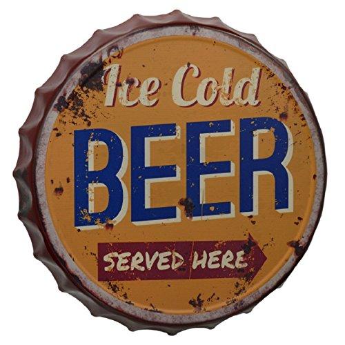 GR Blechschild 33cm Ice Cold Beer Kronkorken Bier Wandschild für Bar Kneipe Pub Diner