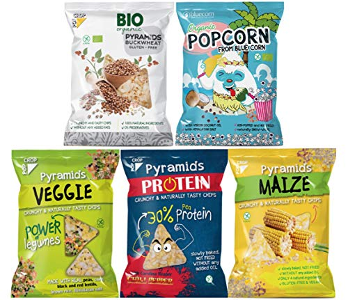 POPCROP Party-Mix Chips Box 8er Pack | 2xProtein, 2xVeggi, 2xMais, 1xBio Buchweizen, 1xBio Popcorn aus Blauem Mais | High Carb, Low Fat, ohne Zugaben von Zucker, glutenfrei, vegan