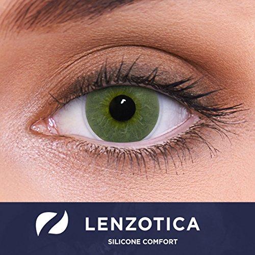 Lentes de contacto verdes naturales 'Platinum Green' de alta cobertura + contenedor de LENZOTICA I 1 par (2 piezas) I DIA 14.00 I sin aumento I 0,00 dioptrías