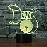 ZWANDP Little/Small Night Light 3D Night Light Drum Set 7 Cambio de color Baby Night Light 3D3D Illusion Bulbing Night Lamp 7 colores que cambian de 3D Night Light 3D LED Table