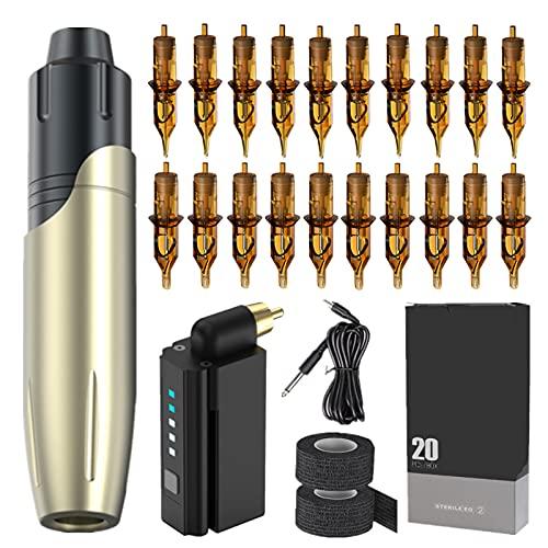 LTLGHY Tattoo Machine Pen Kit, Rotary Tattoo Machine with Wireless Tattoo Power Supply 20Pcs Tattoo Needles Cartridge Black Tattoo Grip Tape Wrap,Gold