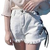 ReooLyMode féminine été Bandage Denim Shorts Pantalons Pantalons Tassel Jambe Large Jeans