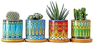 Flower Pots of 4 Pack, Mandala Style Ceramic Flower Pot Simple Desktop Creative Mini Succulent Pot Nordic Contracted for Home Garden Decoration