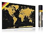 FlyHigh XXL Weltkarte Poster zum Rubbeln in Deutscher Sprache (80x56 cm) inklusive Klebesticker, Kratzwerkzeug und Mikrofasertuch (Gold)
