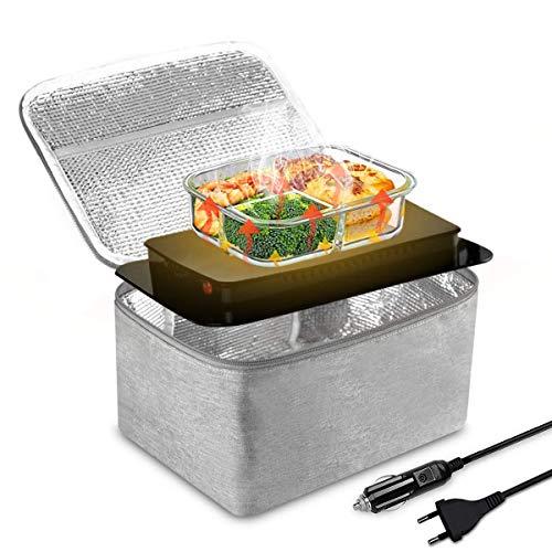 12 V/220 V - Calientaplatos para coche y casa, con bolsa para el almuerzo, calefacción eléctrica, fiambrera para la oficina, escuela, viaje para calentar la comida (gris)