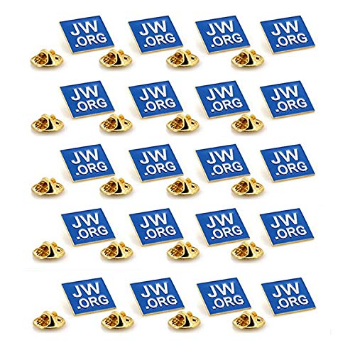 """TANG SONG 20PCS JW.ORG Square Gold Lapel Pin Jehovah Witness JW.org Neck Tie Hat Tack Clip Women or Men Suits, 1"""" Square Blue Lapel Pin"""